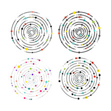 Set Of Circular Lines And Colo...