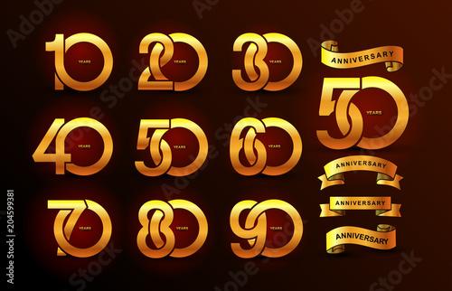 Obraz Set of anniversary pictogram gold icon. Flat design. 10, 20, 30, 40, 50, 60, 70, 80, 90, years birthday logo label, gold stamp. Vector illustration. Isolated on black background - fototapety do salonu