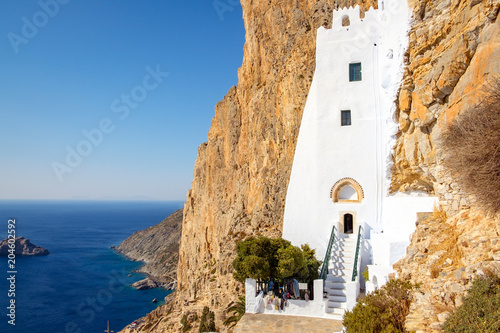 Panagia Hozoviotissa monastery and the ocean on Amorgos island, Greece Canvas Print
