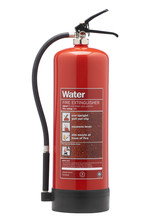 RED WATER FIRE EXTINGUISHER ISOLATED ON WHITE BACKGROUND
