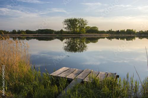 Deurstickers Meer / Vijver Bridge for fishing on the lake