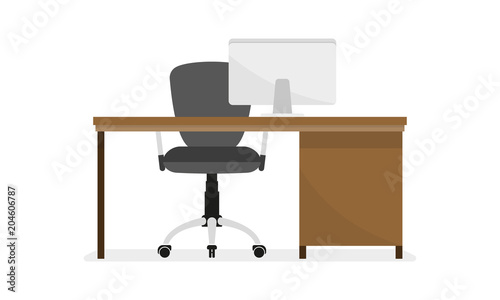 Fototapeta Office desk or table with office chair and computer. Business interior design elements. Vector illustration. obraz