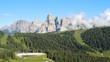 Great landscape at Dolomites. Time lapse to Gardenaccia massif and the Sassongher peak. Alta Badia, Sud Tirol, Italy