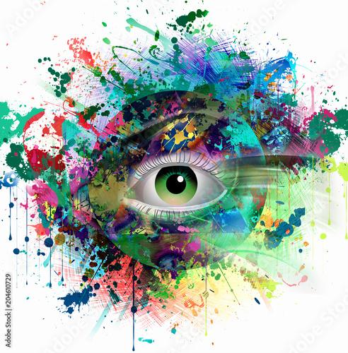 Глаза брызги ярких цветов на белом фоне