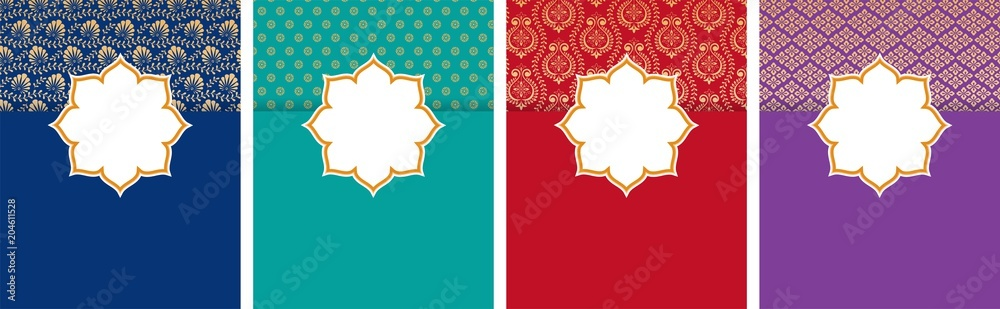 Fototapeta Indian, Arabic style flyer, poster design set with ethnic pattern and copy space