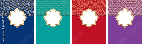 Valokuvatapetti Indian, Arabic style flyer, poster design set with ethnic pattern and copy space