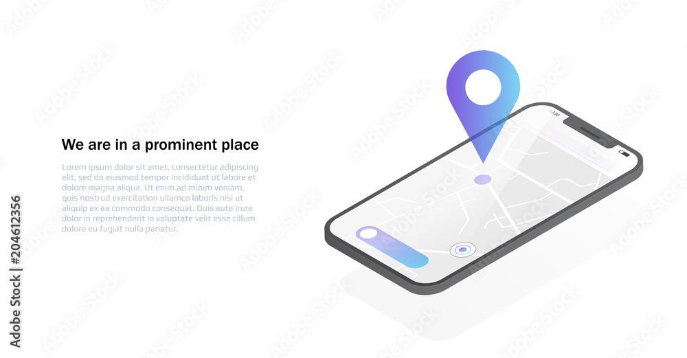 Fototapeta Mobile GPS navigation concept