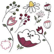 Flowers Summer Spring Illustration Landscape Floral For Blossom Chamomile Stick Design Color Texture Garden Hill Design Yelllow Green Red Place Element Card Similar White Background