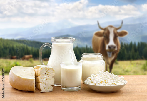 Fotobehang Zuivelproducten Milk, sour cream, cheese and cottage cheese on wooden table on background of meadow with cows in the mountains.