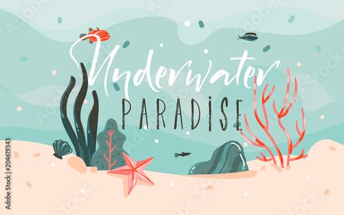 Hand drawn vector abstract cartoon summer time graphic illustrations ...