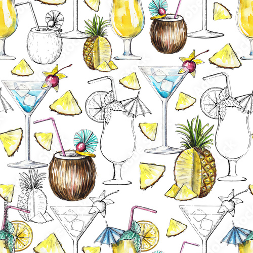 wzor-z-koktajlami-ananasem-i-ich-czarnymi-sylwetkami-na-bialym-tle