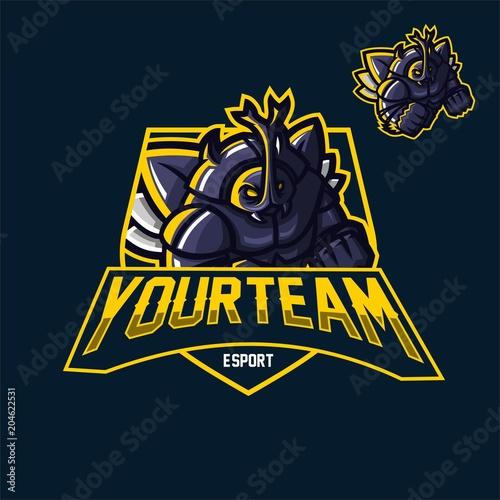 Fotomural horn beetle juggernaut esport gaming mascot logo template