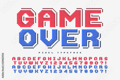 Photo  Pixel vector font design, stylized like in 8-bit games