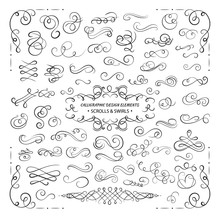 VECTOR Collection Of Design Elements, Calligraphic Swirls And Scrolls For Certificate Decoration, Greeting Cards, Wedding Invitations. Black Lines.