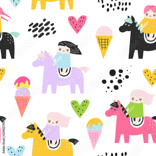Poster Vogels, bijen Childish Seamless Pattern with Cute Girls and Pony. Creative Kids Background for Fabric, Textile, Wallpaper, Wrapping Paper. Vector illustration