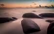 Mystic morning on beach, Seychelles