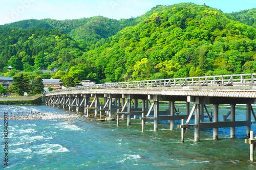 In de dag Kyoto 京都嵐山の渡月橋