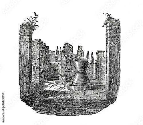 Obraz na plátne Ancient roman flour mill (from Das Heller-Magazin, October 23, 1834)