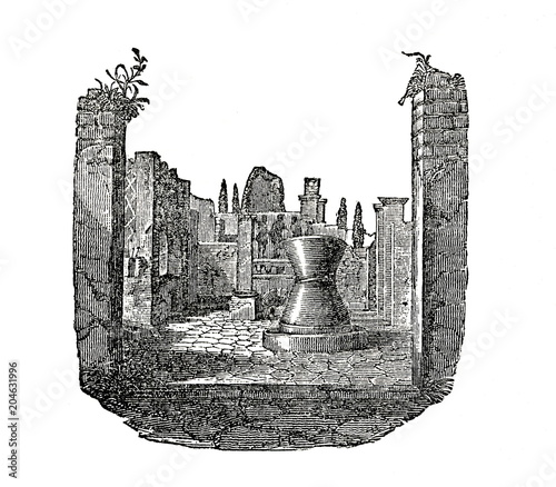 Photo  Ancient roman flour mill (from Das Heller-Magazin, October 23, 1834)