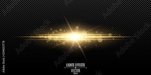 Obraz Abstract magic stylish light effect on a transparent background. Gold flash. Luminous dust and glares bokeh. Vector illustration - fototapety do salonu