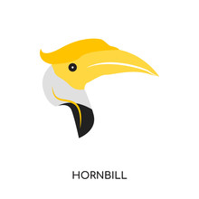 Hornbill Logo Isolated On White Background , Colorful Vector Icon, Brand Sign & Symbol For Your Business