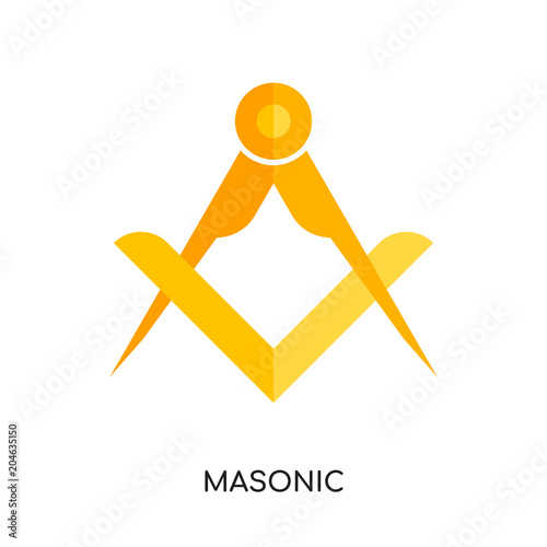 Fotografia, Obraz masonic logo vector icon isolated on white background, colorful brand sign & sym