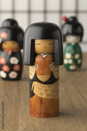 In de dag Asia land Traditional Japanese kokeshi dolls