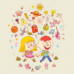 boy and girl going to school - learning education knowledge illustration