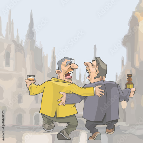 Fotografija  cartoon two drunken singing men walking around the city