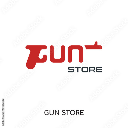 Gun Store Logo Isolated On White Background Colorful Vector Icon