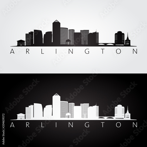 Fototapeta  Arlington, Virginia - USA skyline and landmarks silhouette, black and white design, vector illustration