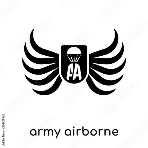 army airborne symbol isolated on white background , black vector