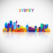 Sydney Skyline Silhouette In Colorful Geometric Style. Symbol For Your Design. Vector Illustration.