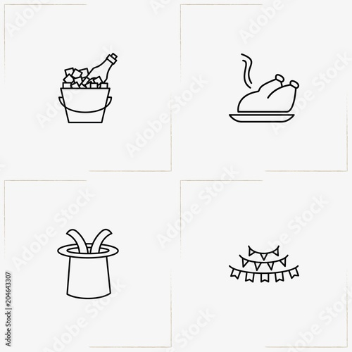 Birthday Line Icon Set With Ice Bucket Rabbit In Hat And Festive Garlands