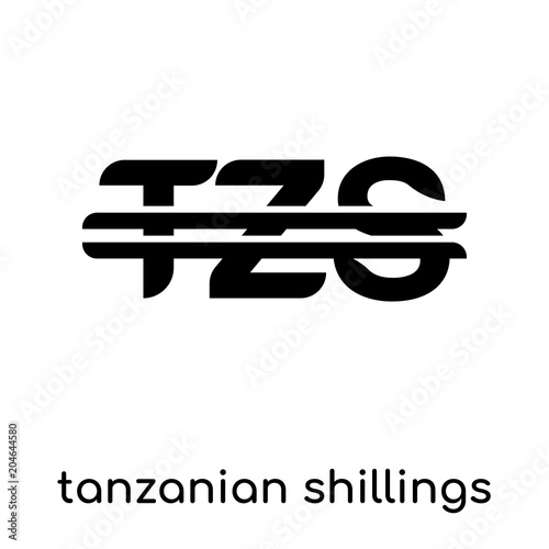 Tanzanian Shillings Symbol Isolated On White Background Black