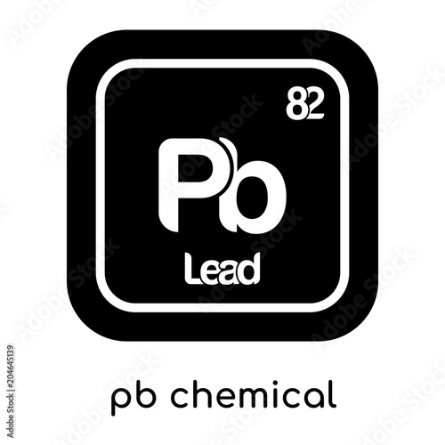Pb Chemical Symbol Isolated On White Background Black Vector Sign