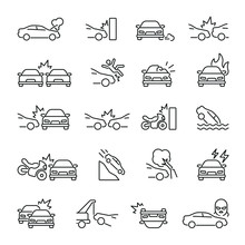 Car Accident Related Icons: Th...