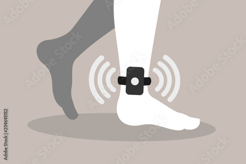 Home arrest - criminal, convict and prisoner is monitored by electronic and technologic device on the ankle and foot Canvas Print