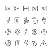Electrical Outlets And Switches: Thin Vector Icon Set, Black And White Kit