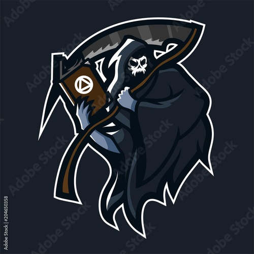 grim reaper holding scythe and book esport gaming mascot logo
