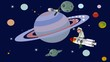 Spacemen sitting on rocket and flying through space, animation clip