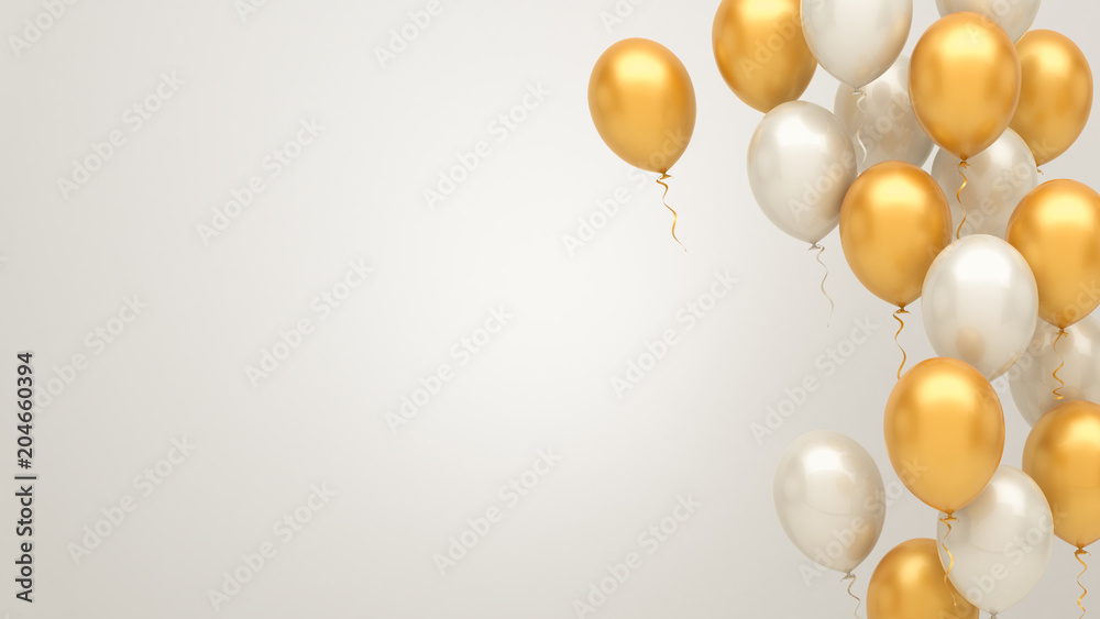 Fototapety, obrazy: Gold and silver balloons background