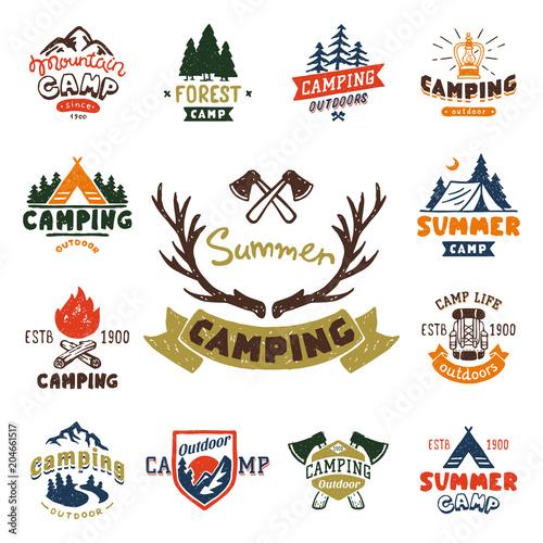 Set of vintage woods camp badges and travel logo hand drawn emblems nature mountain camp outdoor vector illustration Fotobehang