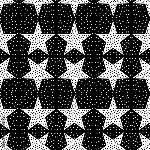 Cotton fabric Seamless pattern with a five-pointed stars and a confetti