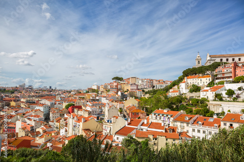 In de dag Centraal Europa Panorama of the old town in Lisbon at sunny spring day, Portugal. On the hill