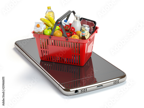 Poster Smartphone and shopping basket with food and drink. Online grocery supermarket concept.