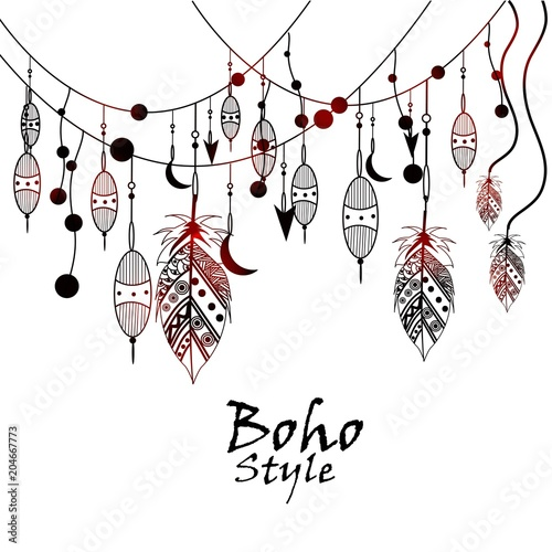 Beautiful Hand Drawn Ethnic Elements Black And White Tribal Vector