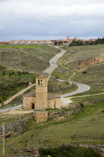 Spoed Foto op Canvas Wit View of the Vera Cruz church from Segovia with Zamarramala on the distance
