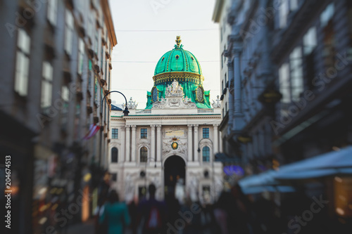 View of Hofburg imperial palace facade exterior with Heldenplatz, Vienna Old Town Historic Center, Austria