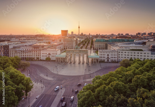 Fotografie, Obraz  The Brandenburg Gate in Berlin at sunrise, Germany